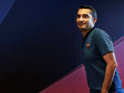 Ernesto Valverde, en la sala de prensa de Sant Joan Despí.