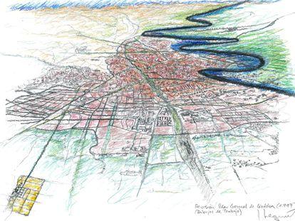 Dibujo del Plan General de Córdoba, elaborado por el arquitecto Seguí en 1997.