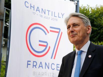 El ministro de Economía del Reino Unido, Philip Hammond, a su llegada a Chantilly (Francia) este miércoles para la reunión del G7