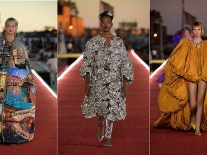Tres de las creaciones presentadas en Alta Moda de Dolce & Gabbana, en la plaza de San Marcos este domingo.