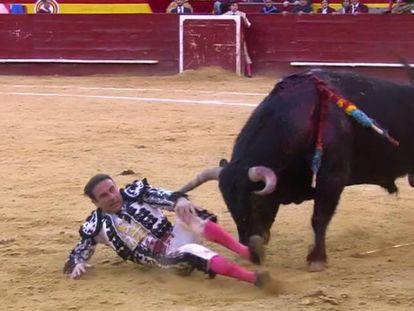 Un momento del percance sufrido por Enrique Ponce el 18 de marzo en Valencia.