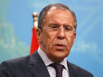 Russia's Foreign Minister Sergei Lavrov speaks during a joint news conference with Iraq's Foreign Minister Hoshyar Zebari in Baghdad February 20, 2014.  REUTERS/Thaier al-Sudani (IRAQ - Tags: POLITICS HEADSHOT PROFILE)