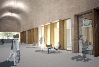Dibujo de la recreación del futuro Museo Nacional de Afganistán.