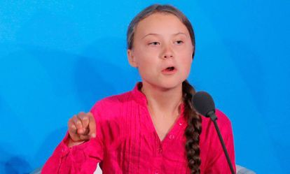 Greta Thunberg durante la cumbre del clima de la ONU, este 23 de spetiembre.
