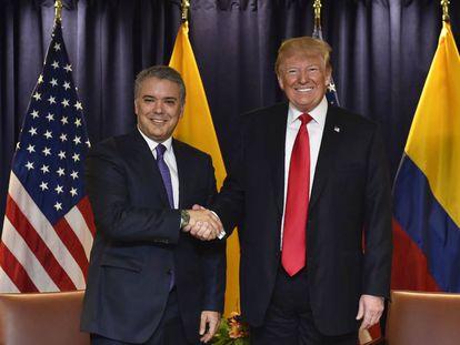 El presidente colombiano, Iván Duque, y el estadounidense, Donald Trump.