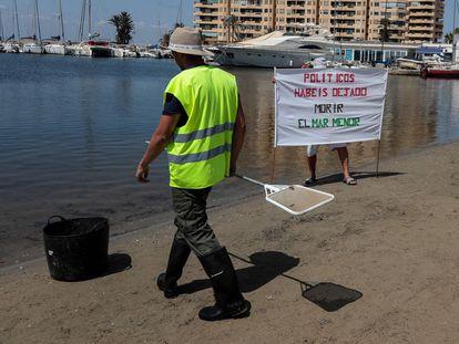 """Un trabajador municipal camina cerca de un hombre que sostiene una pancarta en la que se lee """"Políticos, habéis dejado morir el mar Menor"""", en Puerto Bello de la Manga, cerca de Murcia, el pasado 25 de agosto."""