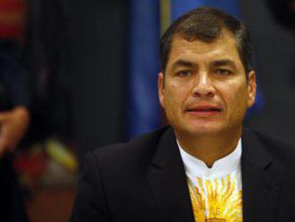 El presidente de Ecuador, Rafael Correa, durante una reunión en el marco de la 66ª Asamblea de Naciones Unidas.