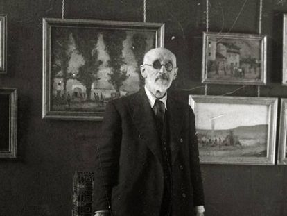 Ricardo Baroja en una exposición celebrada en el Museo San Telmo en 1938.
