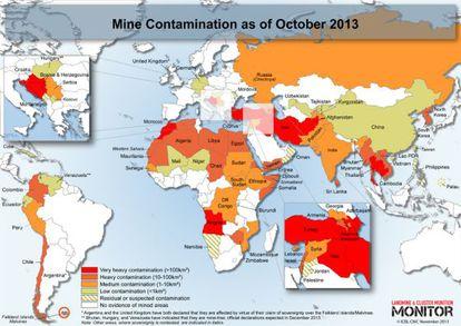Mapa de zonas más contaminadas por minas anti persona.