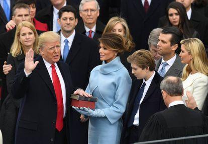 El presidente Donald Trump en la toma de posesión, en Washington.
