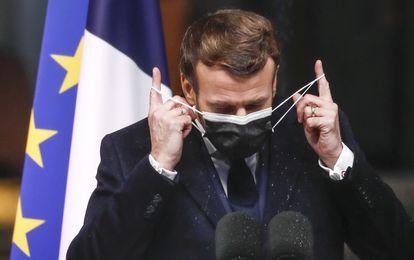 Emmanuel Macron, presidente de Francia, el martes en Brest.