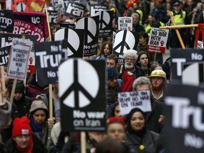 Manifestación contra la escalada bélica en Irán, este sábado en Londres.