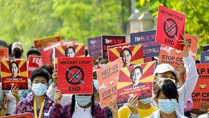 Protestas en Kale, Myanmar.