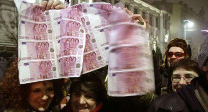 Celebraciones por el año nuevo y la entrada en el euro en Vilna.