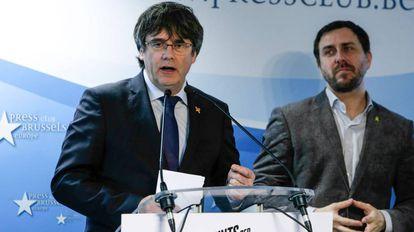 El expresidente de la Generalitat, Carles Puigdemont, este jueves en el Club de la Prensa de Bruselas (Bélgica).