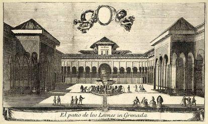Grabado del Patio de los Leones de Louis Meunier, hacia 1668.