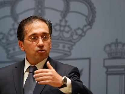 El ministro de Asuntos Exteriores, José Manuel Albares, este jueves en la sede de su departamento.