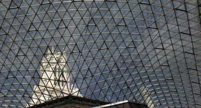 La cúpula acristalada que cubre el patio del palacio de Cibeles, sede del Ayuntamiento de Madrid.