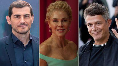 El futbolista Iker Casillas, la actriz Belén Rueda y el cantante Alejandro Sanz.