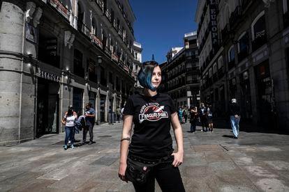 Iraultza Esteve, activista del 15-M, el pasado viernes, en Sol.