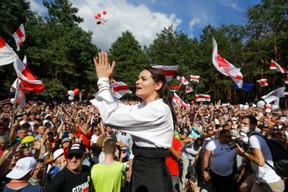 Tijanóvskaya, durante un mitin en la localidad bielorrusa de Brest, pocos días antes de las elecciones del 9 de agosto de 2020.