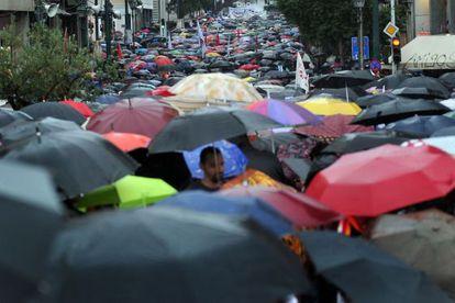 Una imagen de la manifestación de este miércoles en Atenas.