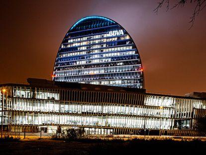 La Ciudad BBVA, un complejo de siete edificios que alberga la sede de la entidad bancaria al norte de Madrid.