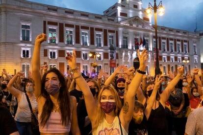 Manifestación en contra de la violencia machista en la Puerta del Sol, en Madrid, el pasado día 11. /