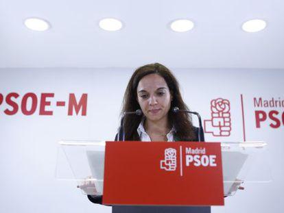 Sara Hernández, alcaldesa de Getafe, durante la rueda de prensa.