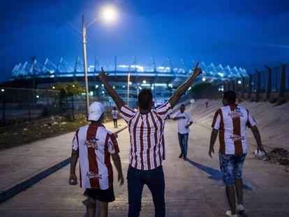 Hinchas del Junior en el estadio Metropolitano de Barranquilla.