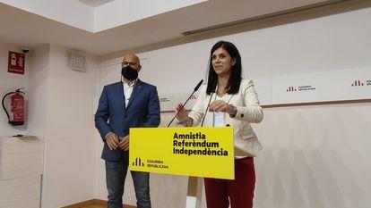 La portavoz de ERC, Marta Vilalta, en su comparecencia de este lunes antes los medios de comunicación.