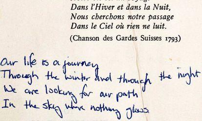 Traducción de un poema en la obra 'Journey to the end of the night', rescatada por The Pages Project.