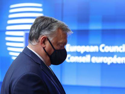 El primer ministro de Hungría, Viktor Orbán, a su llegada a la cumbre en Bruselas.