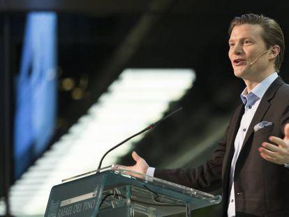 Johan Norberg, la semana pasada, en su conferencia en la Fundación Rafael del Pino de Madrid