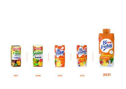Evolución de los envases del producto de Pascual desde su lanzamiento en 1997.
