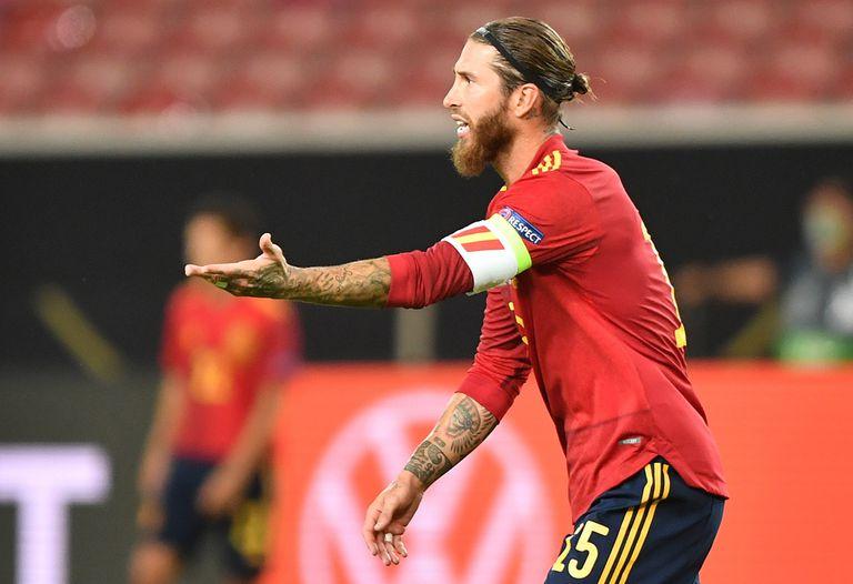 El capitán de la selección española, Sergio Ramos, el pasado miércoles en el partido ante Alemania.