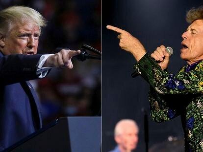 Donald Trump en el mitin del 20 de junio en Tulsa, donde sonó la música de los Rolling Stones. A la derecha, Mick Jagger en un concierto en agosto de 2019 en Pasadena, California.
