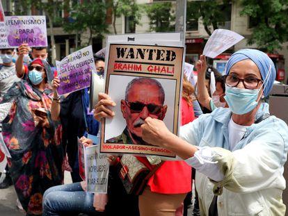 Una concentración contra Brahim Gali, presidente de la República Árabe Saharaui Democrática, frente a la Audiencia Nacional, el pasado junio.