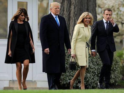 Melania y Donald Trump con Brigitte y Emmanuel Macron en los jardines de la Casa Blanca el pasado lunes.