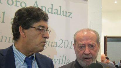 Valderas y Rodríguez Villalobos, este lunes en la inauguración del primer Foro Andaluz del agua.