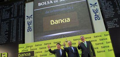 Luis Olivas, Rodrigo Rato y Francisco Verdú el día de la salida a Bolsa de Bankia.