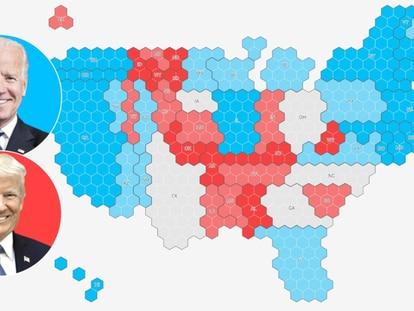 Consulte abajo los datos de encuestas y predicción por Estados / EL PAÍS