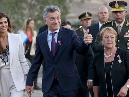 Bachelet y Macri en Colina, Chile, durante un encuentro bilateral celebrado en febrero.