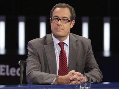 El número dos de CiU en su lista por Barcelona, Pere Macías, durante el debate celebrado en TVE.