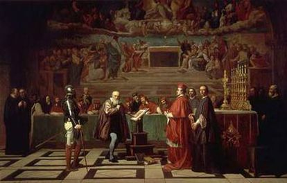 <i>Galileo Galilei ante la Inquisición</i>, obra de Joseph Nicolas Robert-Fleury.