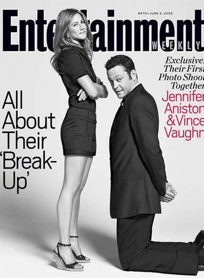 Jennifer Aniston y Vince Vaughn compartieron la portada de la revista 'Entertainment Weekly' para promocionar la película que protagonizaron cuando estaban juntos y que llevaba el profético título de 'Separados'.
