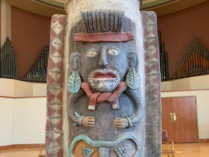La urna maya que se encuentra en el Albion College de Michigan y será repatriada a México.