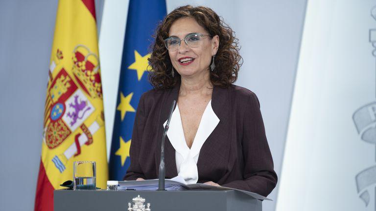 María Jesús Montero, en rueda de prensa en La  Moncloa  POOL MONCLOA 07/04/2020