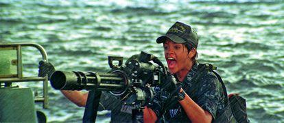 Rihanna en una escena de 'Battleship'.