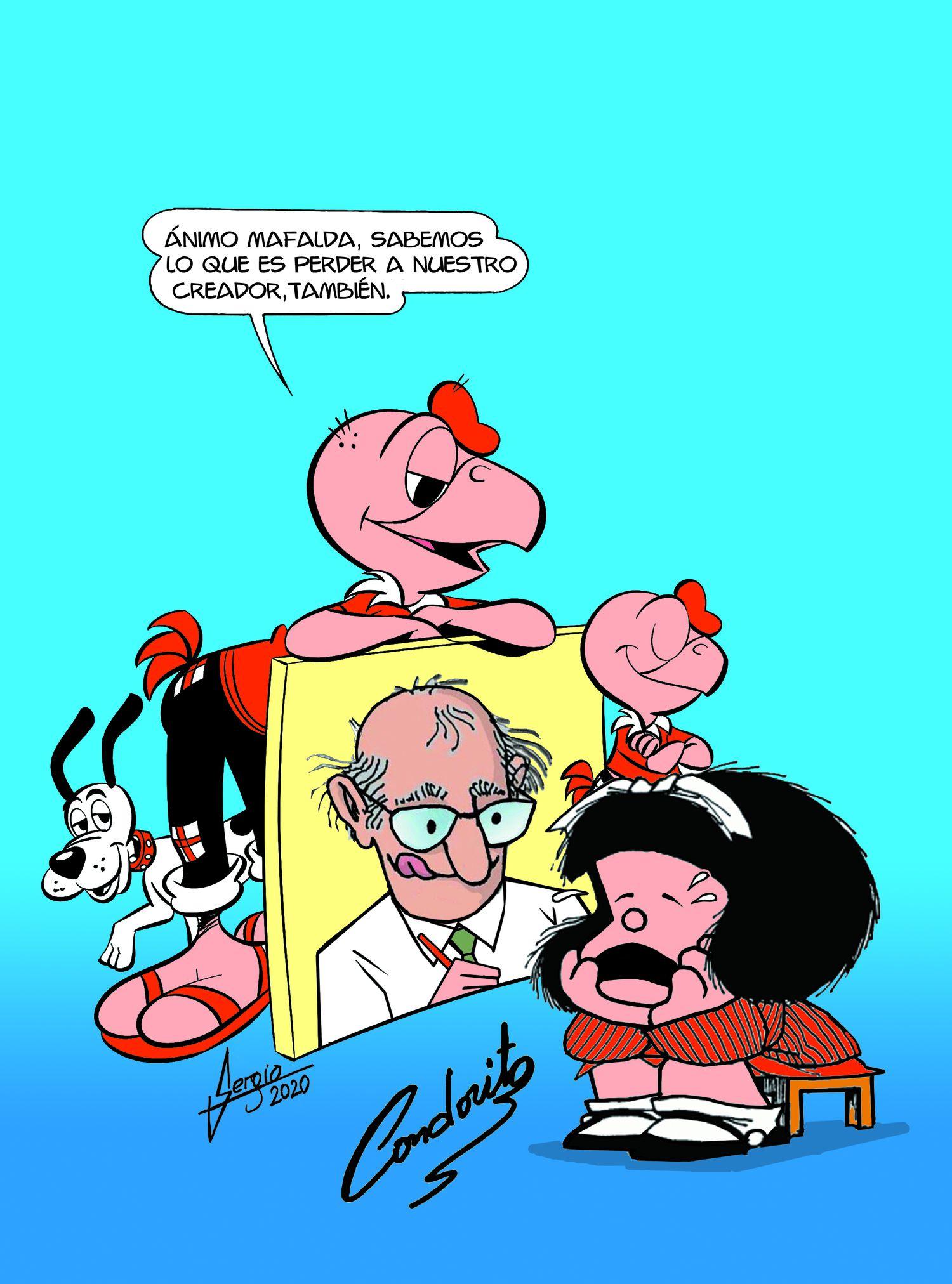 El ilustrador chileno Saúl González, de la exitosa historieta chilena 'Condorito', publica para EL PAÍS una viñeta en homenaje a Quino.